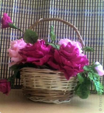 Бумагопластика: корзинка роз фото 1