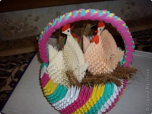 Оригами модульное: Корзинка фото 2