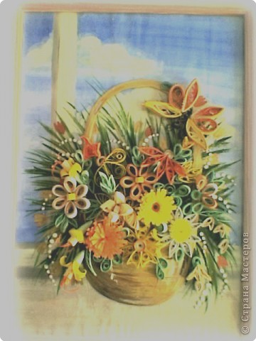 Квиллинг: Корзинка с цветами фото 1