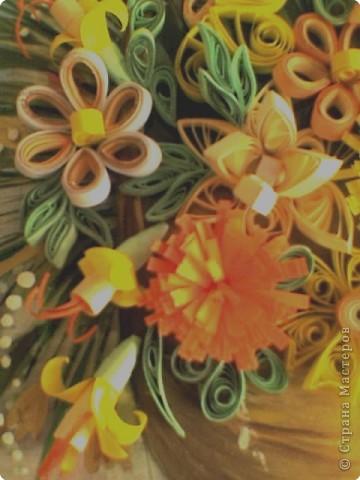 Квиллинг: Корзинка с цветами фото 2