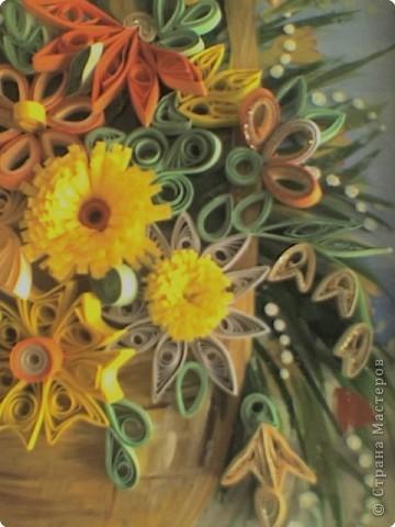 Квиллинг: Корзинка с цветами фото 3