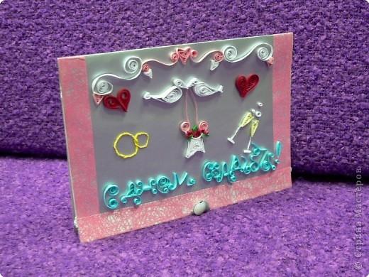 Квиллинг: открытка к дню свадьбы фото 1