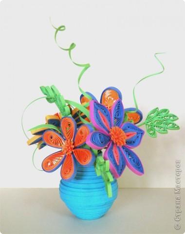 Квиллинг: Ваза с цветами фото 2