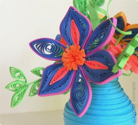 Квиллинг: Ваза с цветами фото 4