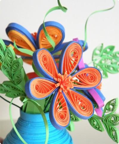 Квиллинг: Ваза с цветами фото 5