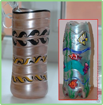 Роспись: Вазочки из пластиковых бутылок
