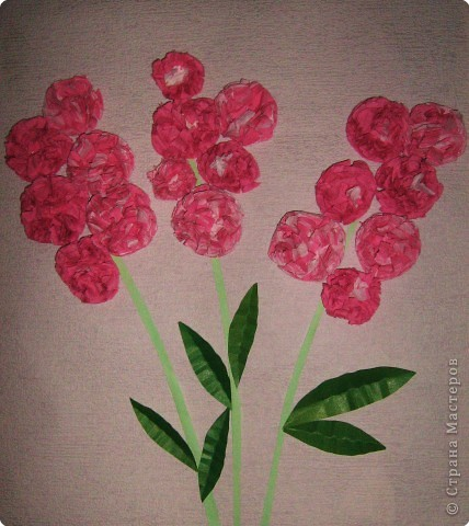 Цветы мальвы ( салфетки ). Делали Вероника, Настя  и Катя, 8лет