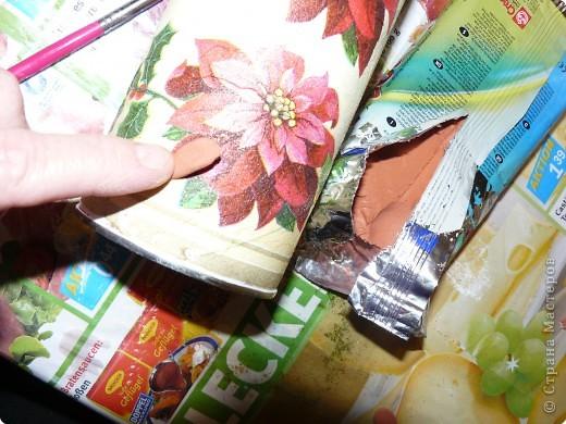Материал,который нам необходим для выполнения объёмного декупажа,я взяла баночку из-под чипсов... фото 10
