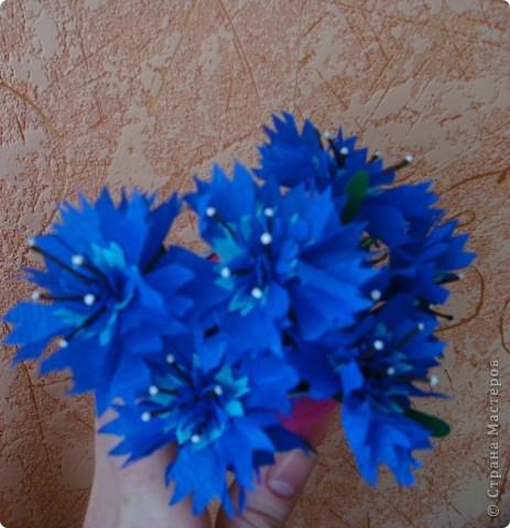Для изготовления василька необходимы 2 синих круга произвольного диаметра,1 голубой-поменьше и две полоски синего и коричневого цвета,проволочка и зеленая бумага для стебля и листочков,а также бисер. фото 9