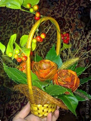 осень. розы -  листья хурмы и лавра фото 1