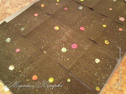 Согнули пополам и склеили вместе два листа бумаги для акварели А3, закрасили черной гуашью + ПВА. Затем взяли жесткую кисть, обмакнули в белую жидковатую гуашь (и в желтую и в голубую) и брызгали, создавая россыпи звезд. А пока всё сохло, мы творили планеты - брали пластилин нескольких цветов, из каждого катали колбаску, затем соединяли их вместе и прикатывали. Затем отщипывали кусочки, катали шарики, сплющивали и вот планета готова. Сделали, как вы видите, много самых разных планет. Ну а когда всё было готово, прилепили их на ширмочки. фото 2