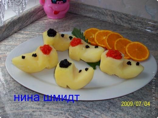 Картофельные башмачки с икрой.