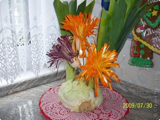 Карвинг: Цветы из лука порея. фото 3