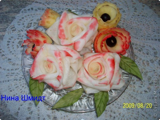 Карвинг: Розы из дайкона. фото 1