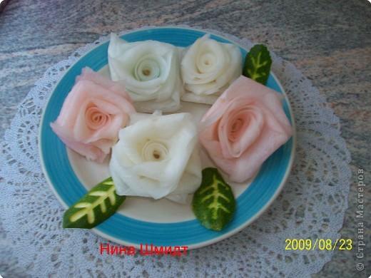 Карвинг: Розы из дайкона. фото 2