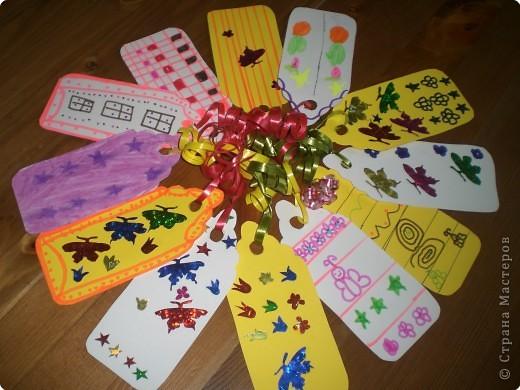 Аппликация: Закладки для книг (работа дочери)