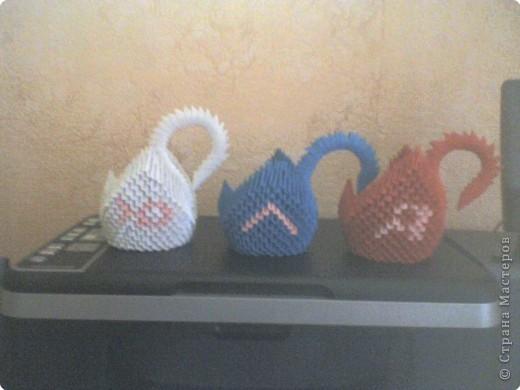 Оригами модульное: Лебеди с именем ЮЛЯ..... фото 3