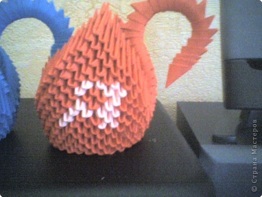 Оригами модульное: Лебеди с именем ЮЛЯ..... фото 6