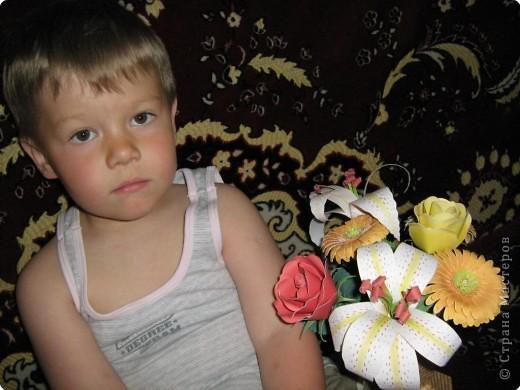 Букет из роз, лилий и гербер фото 2