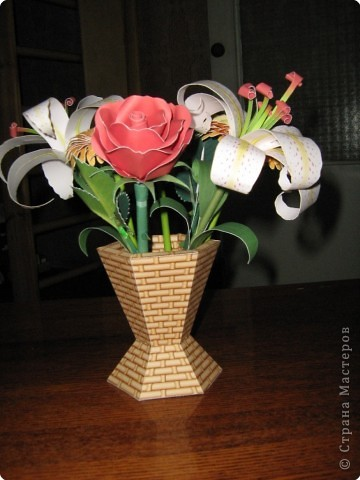 Букет из роз, лилий и гербер фото 3