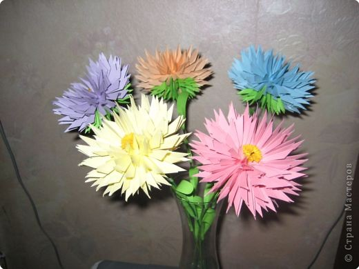 Бумагопластика: астры цветут фото 3