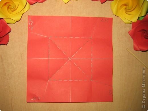 Ну вот, сначала я не торопилась с МК. А потом мой провайдер не торопился с завершением проф. работ.  Два дня не могла подключиться! Эта розочка складывается из одного листа бумаги и может быть использована как модуль для создания кусудамы. Я её увидела здесь:  http://miotsugawa.blogspot.com/2009/07/rosy-rose-verleaf.html          Промучилась полдня (чуть не посинела) и - ура!!! – сложила!!! (схемы не было)  фото 13