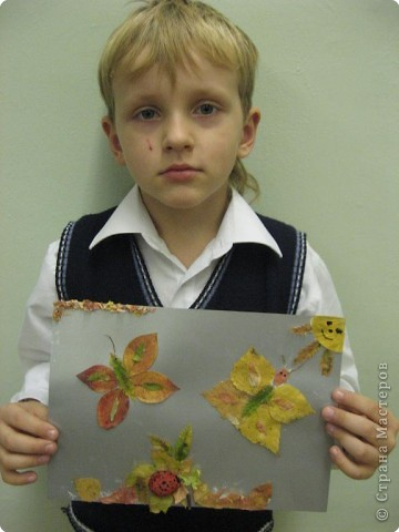 Ребята фантазировали с осенними листьями.  фото 4
