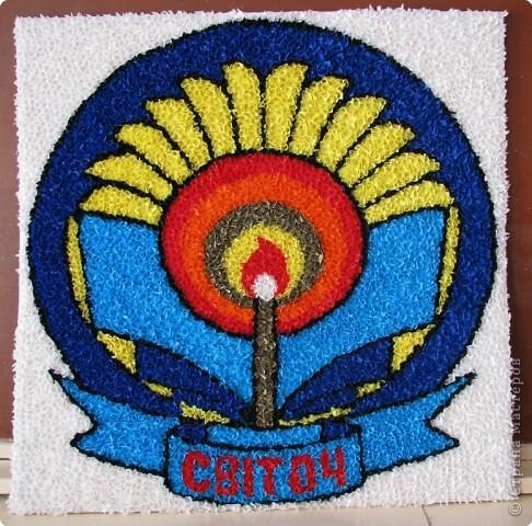 Это эмблема нашей школы (70х70)  выполненная в технике Торцевания  фото 1