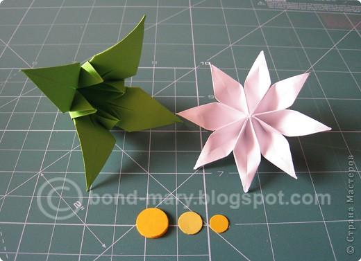 Этой работой я хотела бы показать вам, что многие модули для кусудам или просто цветочки можно комбинировать между собой - получаются совершенно другие кусудамы!  И к тому же я давно мечтала иметь летние цветочки (ромашки) фото 2