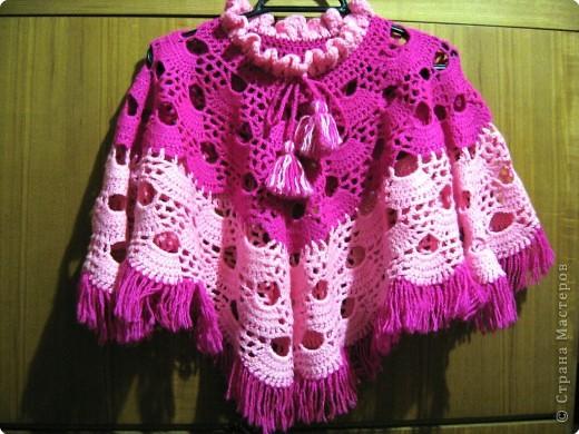 Вязание крючком: пончо для дочи фото 1