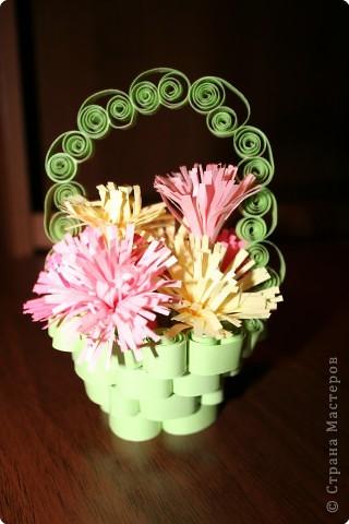Квиллинг: корзиночка с цветочками фото 2