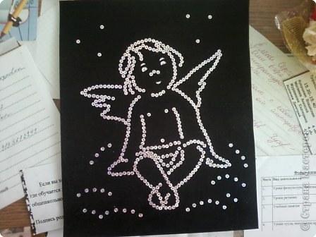 Аппликация: Ангелок из пайеток фото 2
