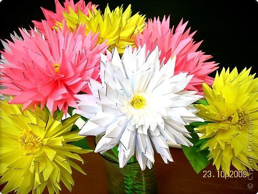Просто влюбилась в эти цветы! Для Осеннего бала сделали их 10 штук. Девочки каждая сделали по цветочку и получился этот замечательный букет! фото 2