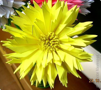 Просто влюбилась в эти цветы! Для Осеннего бала сделали их 10 штук. Девочки каждая сделали по цветочку и получился этот замечательный букет! фото 3
