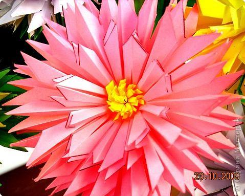 Просто влюбилась в эти цветы! Для Осеннего бала сделали их 10 штук. Девочки каждая сделали по цветочку и получился этот замечательный букет! фото 5
