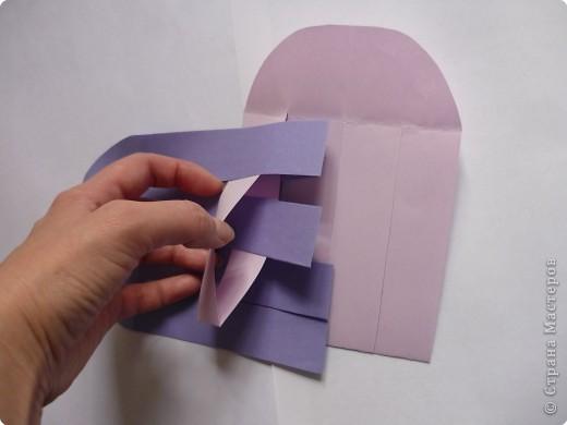 Кармашек сделан по принципу плетёных листочков, только заготовки сложены вдвойне и соединены без клея. фото 6