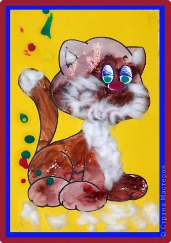 """""""Московский забияка Бандит-Хотабыч"""". Кота нарисовали краской, потом вырезали и перенесли на другой лист, сделали ему хвостик, ушки и шикарную бороду :О) А нос и глаза - пластилиновые. фото 1"""