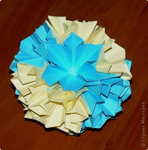 """Перед вами рецепт очередного модуля очередной цветочной кусудамы. Кусудаму эту нашла в книге С.Соколовой """"Бумажные орнаменты, звезды, гирлянды...""""  фото 23"""