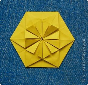 """Перед вами рецепт очередного модуля очередной цветочной кусудамы. Кусудаму эту нашла в книге С.Соколовой """"Бумажные орнаменты, звезды, гирлянды...""""  фото 13"""