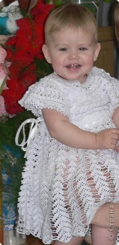 Вязание крючком: Платье на Крестины фото 2