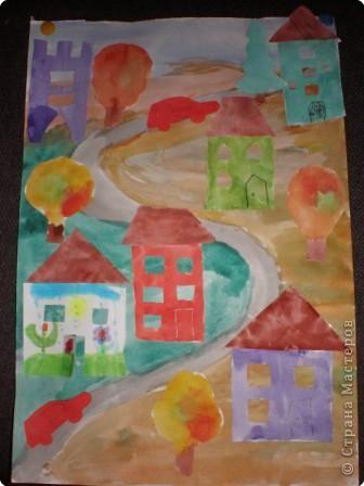 Аппликация: Осенний поселок