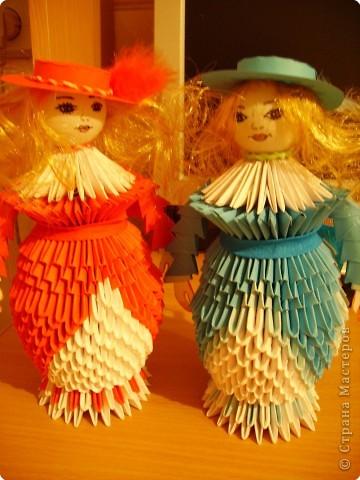 Оригами модульное: Дамы в модных шляпках фото 5