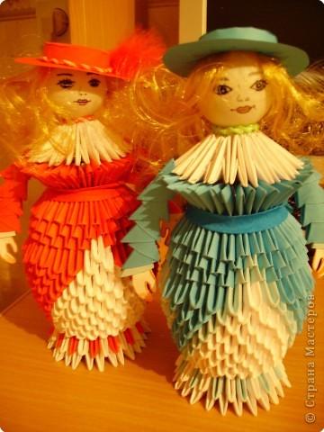 Оригами модульное: Дамы в модных шляпках фото 1