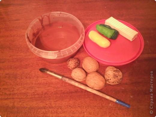Для поделки нам понадобится -  крышечка от майонезного ведерка, пластилин желтого, зеленого белого цветов, скорлупки грецких орехов, кисточка и гуашь коричневого цвета + ПВА. фото 1
