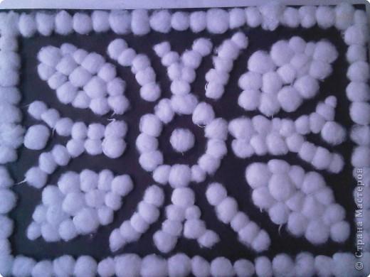 Аппликация: Ковер (почти персидский) из ватных шариков