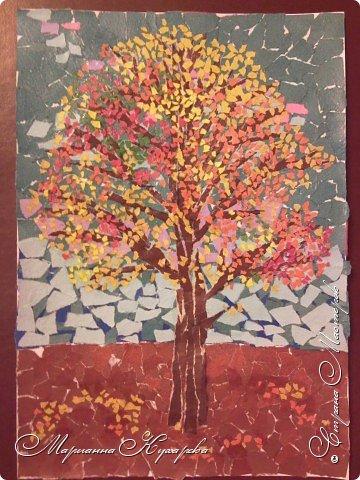 Аппликация обрывная: Дерево. Осень.