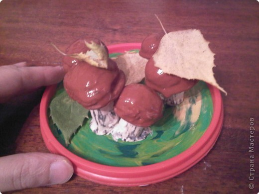 Для поделки нам понадобится -  крышечка от майонезного ведерка, пластилин желтого, зеленого белого цветов, скорлупки грецких орехов, кисточка и гуашь коричневого цвета + ПВА. фото 13