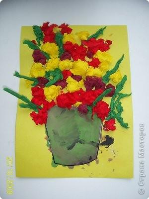 Аппликация: Цветы в горшке