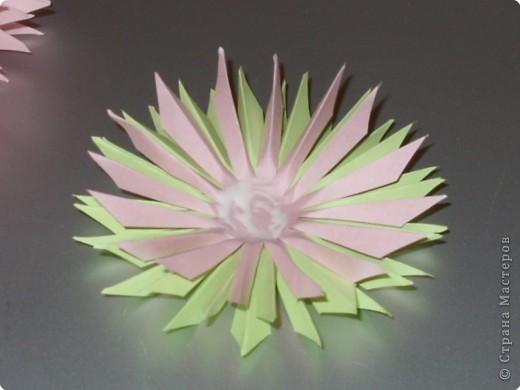 Для такого цветка нам понадобится: 6 больших розовых звезд, 4 маленькие розовые звезды, и 2 маленькие зеленые. фото 17