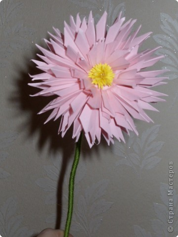 Для такого цветка нам понадобится: 6 больших розовых звезд, 4 маленькие розовые звезды, и 2 маленькие зеленые. фото 1